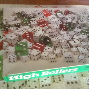 """Vintage Jigsaw Puzzle HIGH ROLLERS Dice 550+ Pieces COMPLETE USA 18"""" x 24"""""""