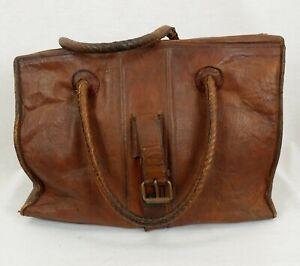 Antique Vintage Doctors Medicine Gladstone Bag Leather Brown