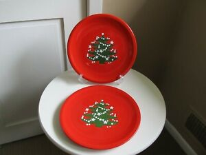 "Waechtersbach  (2) Red Christmas Tree Plates 10"" Dinner Plates -  Germany"