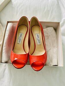 Tangerine Patent Jimmy Choo Wedges Size 39