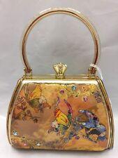 Debbie Brooks Gold Satin Sparkle Handbag Evening Bag New YELLOW BUTTERFLY Sassy
