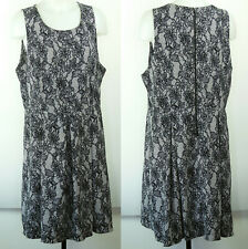 Forever 21+ Poly/Spandex Black Floral Lace Print Sleeveless Fit & Flare Dress 1X