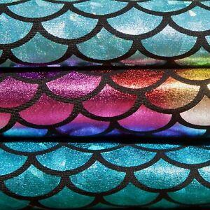 Spandex stretch fabric Fish scale Starburst hologram foil print Mermaid Mystique