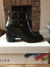 Office Black Leather Boots Size 6