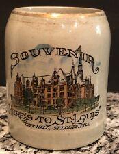 "~Vintage Stoneware Beer Mug~""Souvenir Of St. Louis�~""City Hall�~Great Graphics!~"