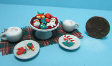 Dollhouse Miniature Christmas Holiday Cookies Hot Chocolate Mugs and Runner