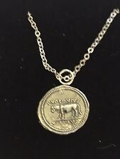 "Denarius Of Julius Caesar Coin WC75 On a 16"" Silver Plated Chain Necklace"