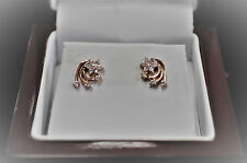 .20pt Diamond Flower Swirl Earrings 14kt Rose Gold