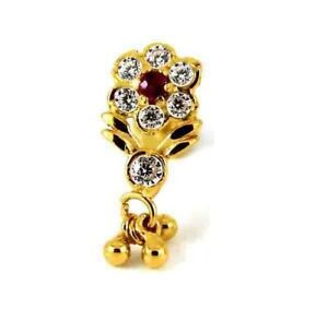 22ct Yellow Gold Dangle Screw Nose Stud with White and Pink CZ  NSS49