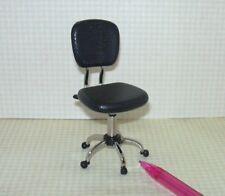 Miniature Hydraulic-Style BLACK Plastic/Metal Desk Task Chair: DOLLHOUSE 1/12
