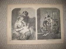 ANTIQUE 1858 VICTORIAN ART CHILDRENS ROMANCE LOVE FASHION ENGRAVED PRINT RARE NR