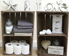 2 x VINTAGE STYLE WOODEN APPLE CRATE SHABBY CHIC SHOP DISPLAY SHELF, HANDMADE