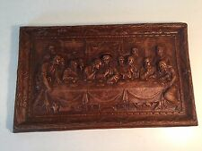"Vintage Last Supper Art Panel ~ Jesus With Apostles ~ 14.5"" x 9"""
