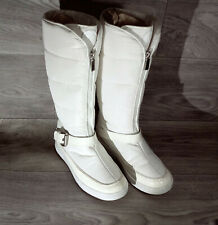 """Michael Kors Bellport Size 8 Belted White and Off White Winter boots 14"""" tall"""
