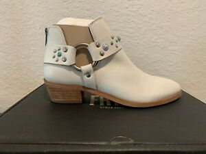 Frye Ray Stone Harness Zip Stud Booties Women's Ankle Boots White Leather