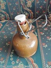 """vintage red pottery bottle with ceramic lid 6""""[52a]"""