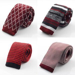 Slim Designer Mens Knitted Neck Ties Cravate Narrow Skinny Neckties 2019 New