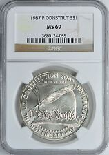 1987-P CONSTITUTION 200th ANNIVERSARY SILVER S$1 COMMEMORATIVE NGC MS69