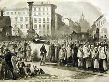 FUNERAL EMILO DANDOLO MILAN ITALY COFFIN 1859 Art Matted