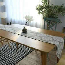 White Big Flower Table Runner Wedding Cotton Linen Home Textile Party Decoration