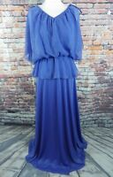 vintage maxi dress cornflower blue Size 8 60s 70s sleeveless gathered waist