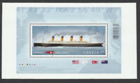 TITANIC = Souvenir Sheet with LARGE MARGIN from UnCut Sheet Canada 2012 #2535ii