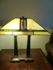 VINTAGE TIFFANY STYLE STAIN GLASS DOUBLE LEGS TABLE DESK LAMP