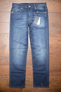 Armani Exchange A|X J16 Men's Straight Fit Stretch Cotton Ripped Denim Jeans 32S