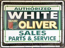 2- BANNER LOT WHITE OLIVER TRACTORS DEALER REMAKE PRINTED BANNER SIGN ART 4X3