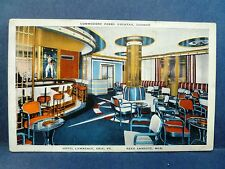 Postcard PA Erie Hotel Lawrence Commodore Perry Cocktail Lounge Bar Interior