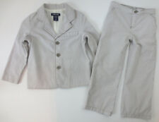 Cherokee Toddler Boys Sz 4T Blazer Set Jacket Pants Pin Stripe Outfit Gray White
