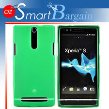 GREEN Soft Gel TPU Cover Case For Sony Ecicsson Xperia S LT26i +Screen Protector