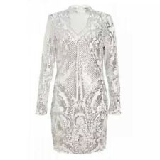 Quiz - Towie white and silver sequin bodycon dress Last Size 14