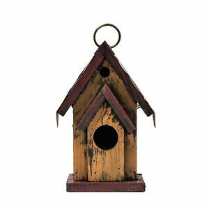 """6.75"""" Brown Hanging Rustic Style Birdhouse"""