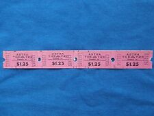 Vintage $1.25 Astra Theatre Tickets (Strip of 4)  Drive-In Movie/Cinema