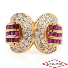 Estate Diamond Ruby 18K Gold Pave Link Bypass Ring 6.4 Grams NR