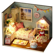 DIY Dollhouse Miniature Kit with Cover With LED Wood Toy Dolls House X'mas Gifts