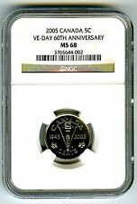2005 CANADA 5 CENT NGC MS68 VE-DAY 60TH ANNIVERSARY VICTORY V NICKEL WWII RARE !