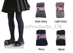 2 x Pairs Girls Cotton Rich Super Soft School Tights In Black Navy Grey Age 3-14