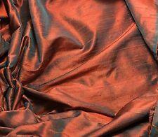 "Silk DUPIONI Fabric Orange Teal Blue fat 1/4 18""x27"" remnant"
