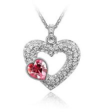 18K White GOLD GP Made With SWAROVSKI Element CRYSTAL Double Heart Pink NECKLACE