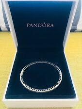 PANDORA Bangle Bracelet Pink Sterling Silver Stone Size S 16cm Fashion Jewellery