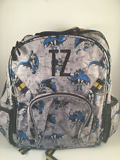 """Pottery Barn Kids All Over BATMAN Large Backpack MONGRAMMED with Letters """"TZ"""""""