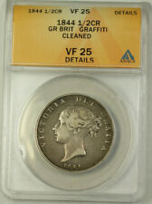 1844 Great Britain Silver Half Crown Coin ANACS VF-25 Details Cleaned Graffiti