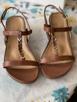VIONIC Strappy Women's Orthotic Comfort Sandals Brown Leather Size 7.5 Medium