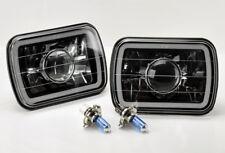 "7x6"" H4 Black Chrome Projector CCFL Blue Halo Glass Headlights Pair & Bulbs Jeep"
