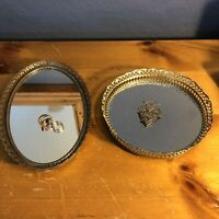 TWO MID CENTURY VINTAGE VANITY JEWELRY BRASS MIRRORED TRAYS WALL ORNATE TRINKET