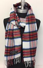 Men/Women 100% CASHMERE SCARF Wrap SCOTLAND Classic Plaid Soft White/red/blue
