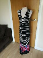 Ladies Dress Size 12 14 Black Pink Long Maxi Stretch Smart Casual Day