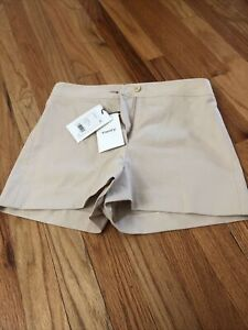 Theory Womens Biquincey Stetch Canvas Light Beige Shorts Size 2